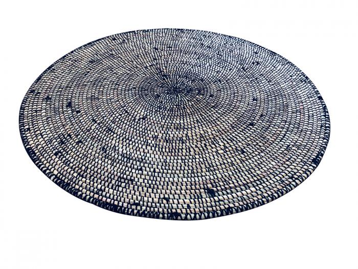 Mbérou Laine – Tapis rond noir