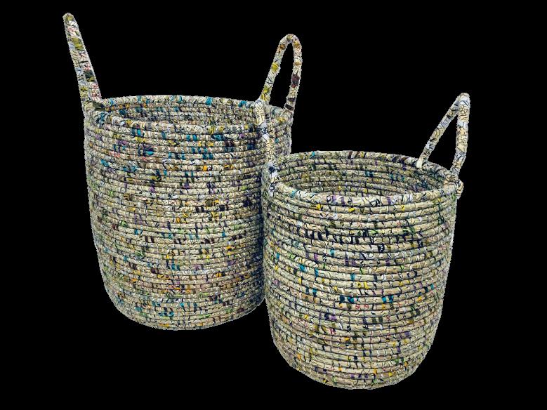 Djibi Wax – Set de 2 panières multicolore
